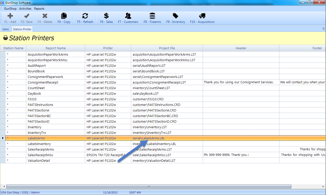 See blue arrow pointing to default Arms Label project file